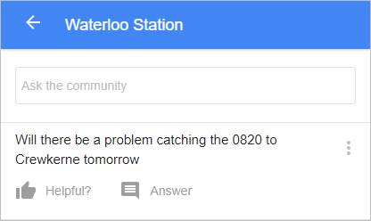 Screen shot of Google question on Waterloo station