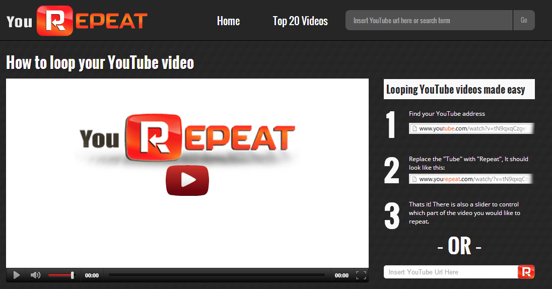 YouTube repeat website