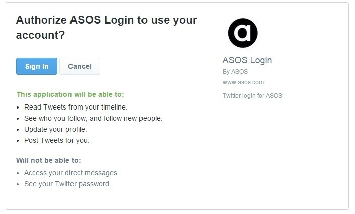 asos explains how it will use your social site when you log in