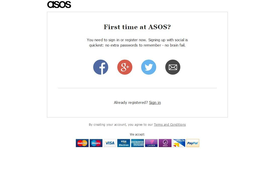 Asos social log-in
