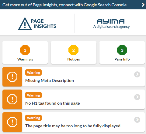 Ayima Page Insights Tool example