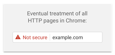 Google's example of how Chrome will eventually flag all HTTP content as 'not secure'