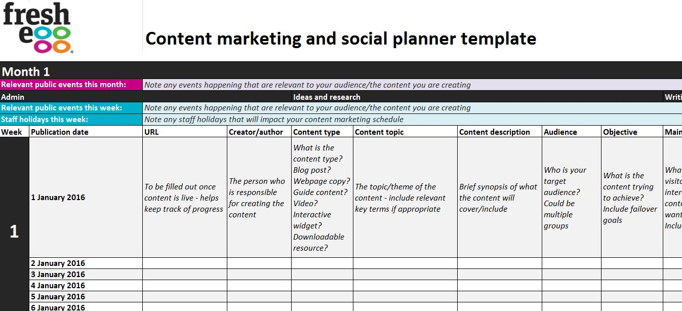 Content marketing planner blank template – admin section