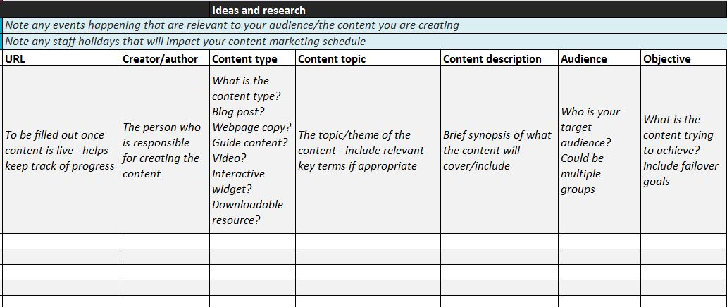 Content planner example – ideas and research section