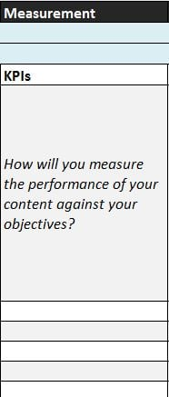 Content planner example – measurement section