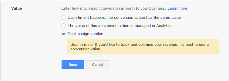 Conversion goal value