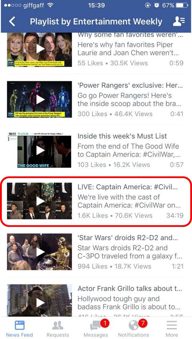 Entertainment Weekly's previous live video in its 'videos' folder on Facebook