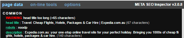 Page title warnings for Expedia.com.au