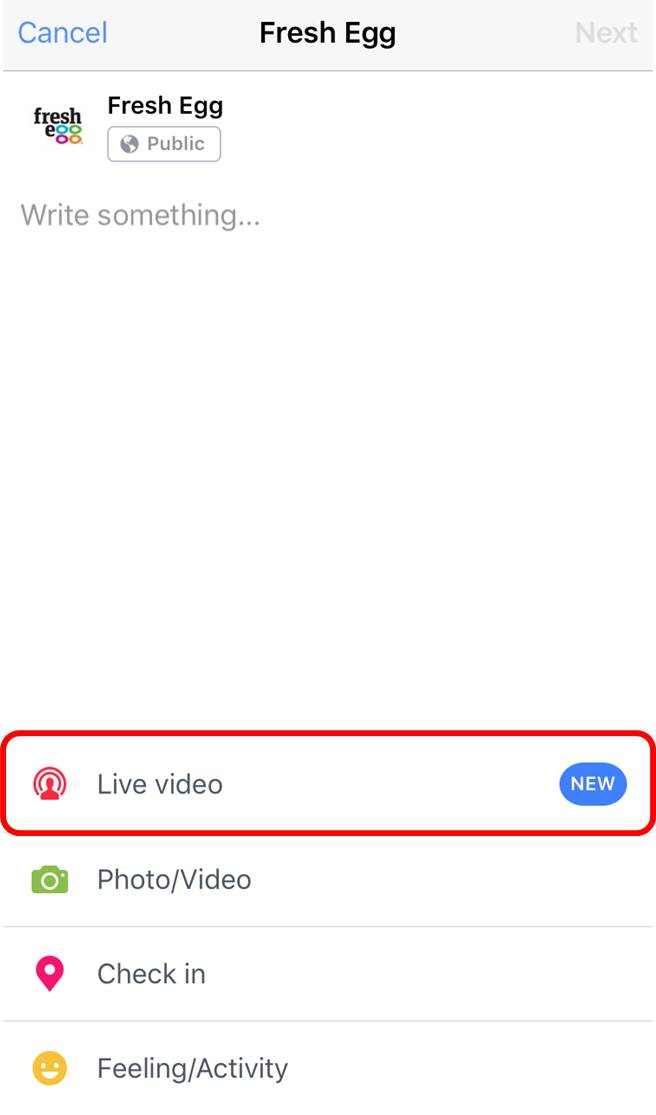 Facebook Live button underneath the status box