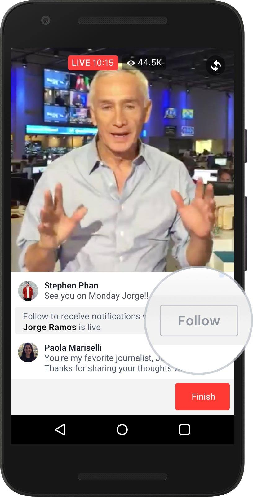'Follow' button on live video so users can receive notifications when you're next live