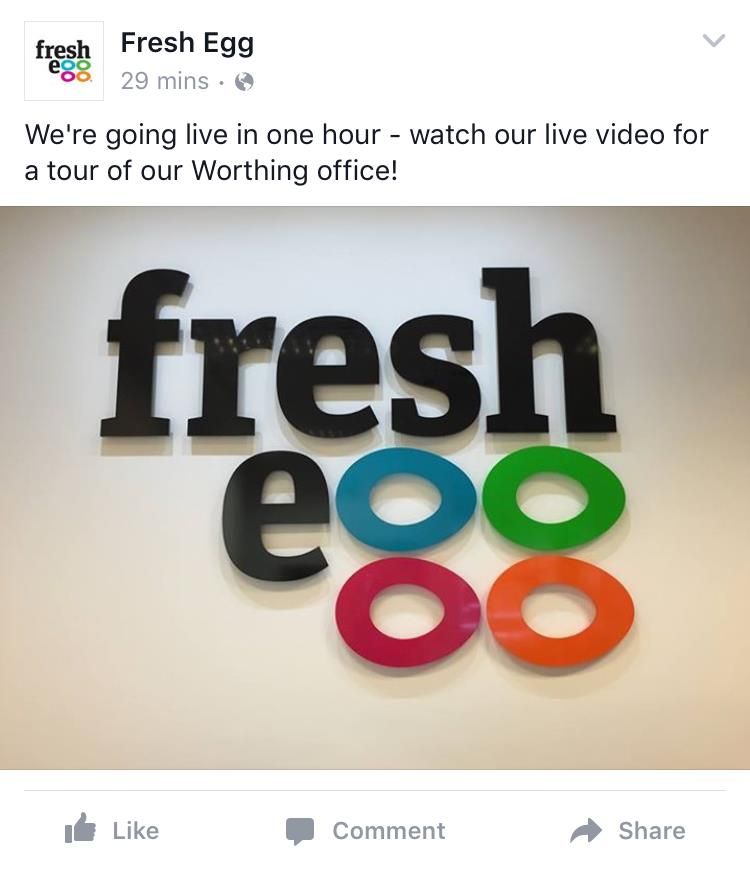 Fresh Egg notifying followers about live video