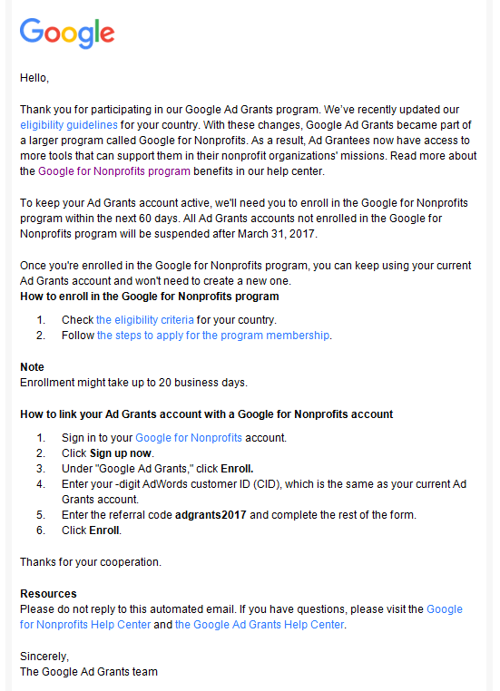 Google Grants email update