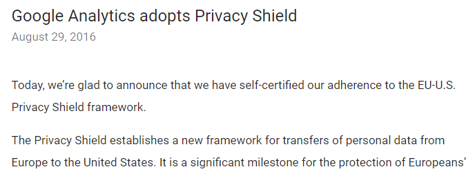 Google's privacy shield announcement