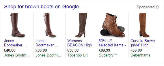 Google shopping results for brown boots