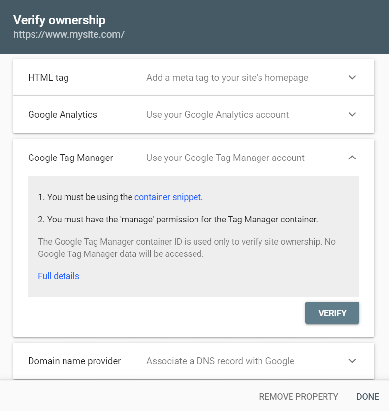 Google Tag Manager verification method