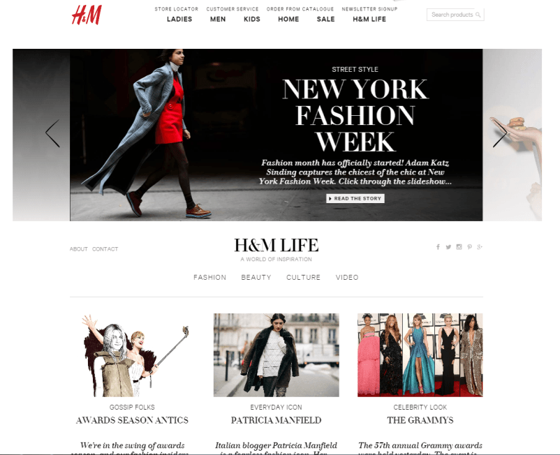 H&M Life content hub screenshot