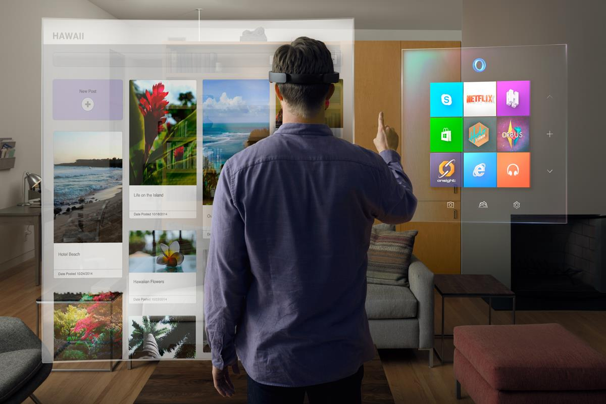 Promo image of the HoloLens in action from the Microsoft News Center