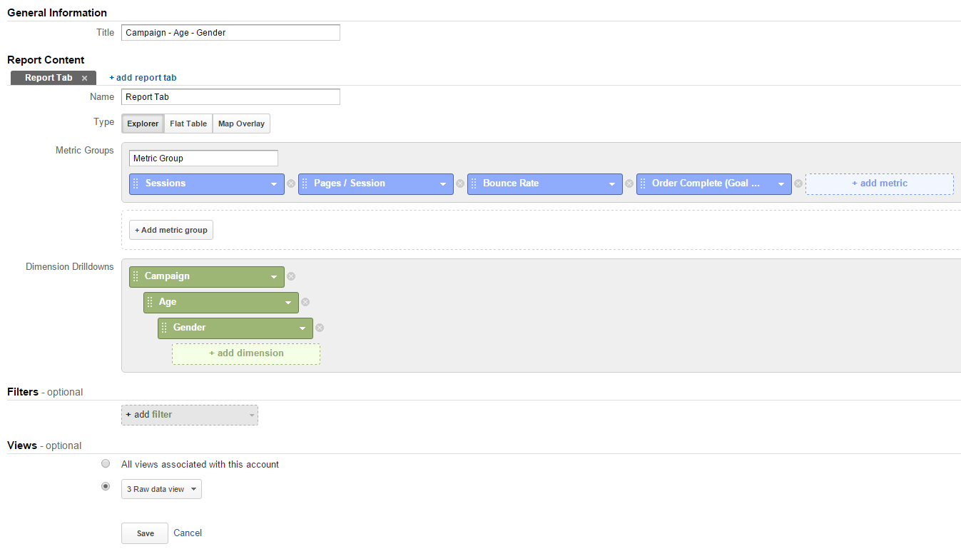 Creating a Custom Report in Google Analytics example