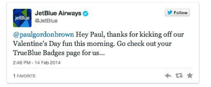 JetBlue Airways Valentines Tweet