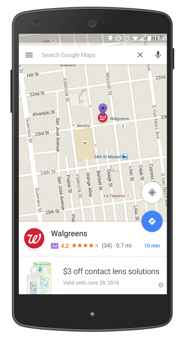 Promoted Pins ad on Google Maps