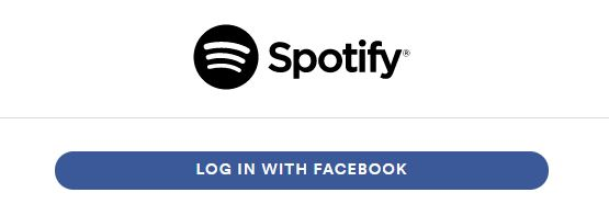 Spotify's log in with Facebook option.