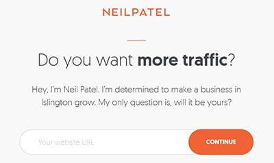 Marketer Neil Patel strategically frames his service as focused, determined, familiar and relevant