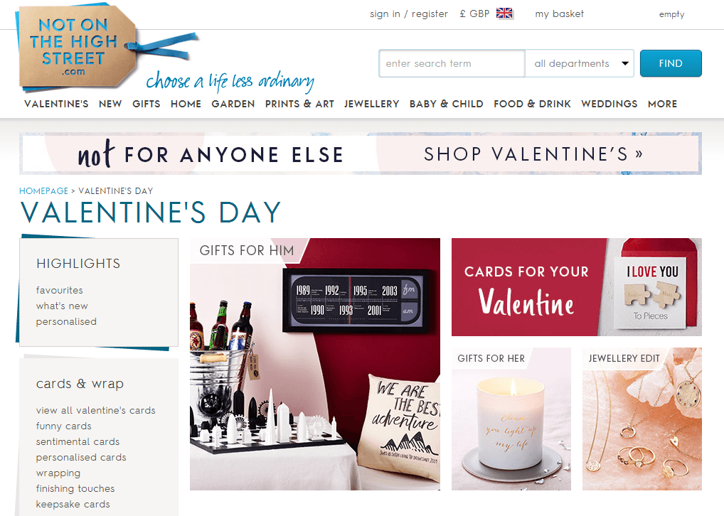 Not on the High Street's Valentine's Day theme landing page