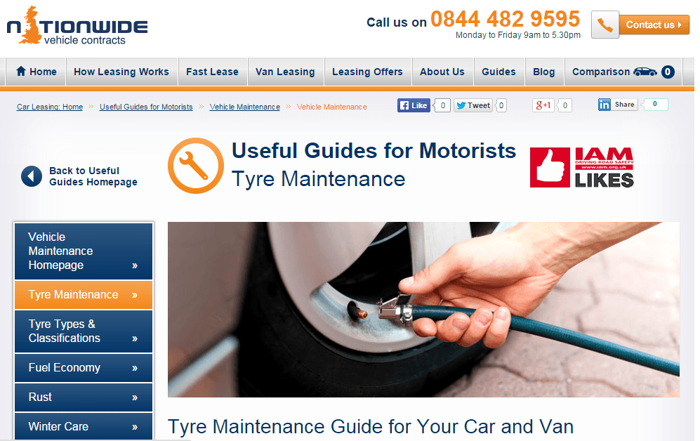 Nationwide Vehicle Contracts' tyre maintenance guide, featuring the IAM Likes kite mark