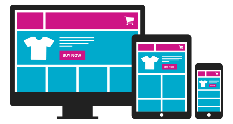 Graphic of responsive design ecommerce website on desktop, tablet and smartphone