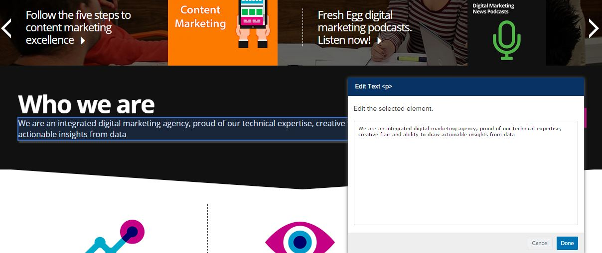 screenshot of who we are fresh egg website