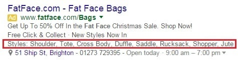 Structured snippet extensions for Fat Face bags result
