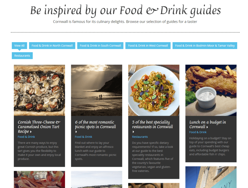 Sykes Cottages Discover Cornwall content hub screenshot