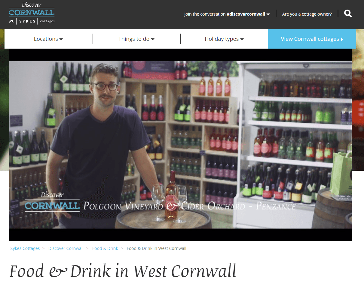 After being featured in one of Sykes Cottages' Discover Cornwall Food & Drink videos, Polgoon Vineyard and Cider Orchard published a blog post and embedded the video.