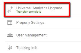 universal analytics transfer complete