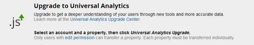 universal analytics upgrade message