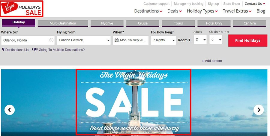 Virgin holidays heavily promoting 'sale' items when a user begins holiday hunting